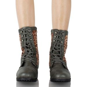 Smoke Gray Leopard Lace Up Combat Boots